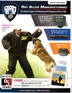 Stephane is one of the top decoys in the world. Here he is featured on the cover of a top canine equipment catalog.
